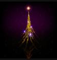 christmas card with shiny golden christmas tree vector image
