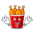 crazy fried chicken bucket isolated on mascot vector image vector image