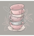 cups on grey background vector image vector image