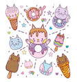 cute desserts and icecreams cartoons vector image vector image