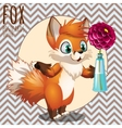 Cute Fox present you a flower series postcards vector image