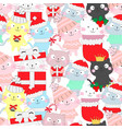cute funny cat seamless cartoon pattern vector image vector image