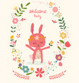 doodle cute pink bunny in flower wreath frame bab vector image