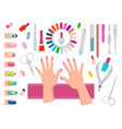 female hands with pink nails and manicure tools vector image