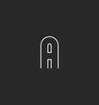 First latter alphabet monogram logo mockup outline vector image vector image