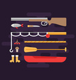 Fishing and Hunting Tourism Concept Set of Flat vector image