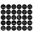 flat black real estate icon set vector image vector image