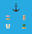 flat icon summer set of ship hook beach sandals vector image vector image