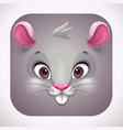 funny gray mouse face cartoon app icon for game vector image vector image