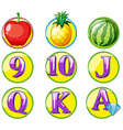 Game token with fruits and numbers vector image