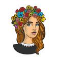 girl flower wreath sketch vector image vector image