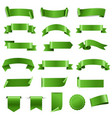 green ribbon set and labels white background vector image