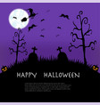 halloween night with castle and full moon vector image vector image