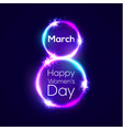 happy womens day 8 march in neon circles with glow vector image vector image