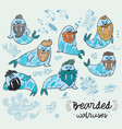 hipster walruses with beards and tattoos vector image vector image