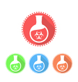 Icons of flat-bottomed flask with toxic solution vector image vector image