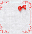 invitation card with vintage elements and bow vector image