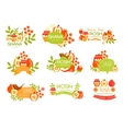 Jewish New Year Bright Postcard Labels Set vector image