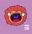lion with open mouth in handmade cartoon style vector image