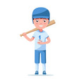 little child is standing in baseball ammunition vector image vector image
