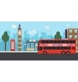London United Kingdom Big Ben tower flat design vector image vector image