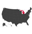 map of usa - michigan vector image