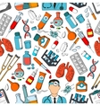 Medicine tools and teatment seamless pattern vector image