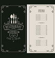 menu for restaurant with price list and flatware vector image