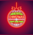 merry christmas red ball neon sign vector image