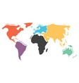multicolored simplified world map divided to vector image vector image