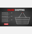 online shopping banner realistic metallic vector image