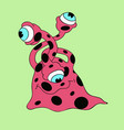 red monster with black dots and three-eyes smiling vector image