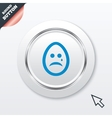 Sad egg face with tear sign icon Crying symbol vector image vector image