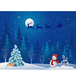 Santa sleigh and greeting snowman vector image vector image