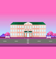 school building facade in spring season vector image vector image