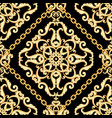 seamless damask pattern golden beige on black vector image
