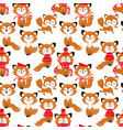 seamless pattern with cute foxes in scarf and hat vector image vector image