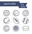 set line icons sport balls vector image