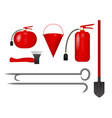 set of fire tools red vector image