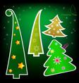 Set of stylish paper christmas trees vector image