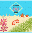 summer special sale beach background with flower vector image vector image