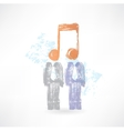 two men with notes instead of heads vector image