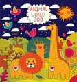 Various Animals on colorful background vector image vector image