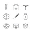 white background with monochrome set of medical vector image vector image