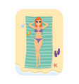 woman relaxing in the beach at summer vector image vector image