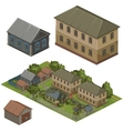 Wooden houses on green street city vector image vector image