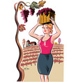 young woman with a basket filled with freshly vector image vector image