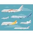 Set of Variety Aircraft Flat Style vector image