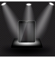 Abstract design tablet on black shelve on metal vector image