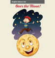 A boy over the moon vector image vector image